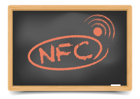 nfc: detailed illustration of a blackboard with NFC term