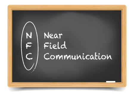 nfc: detailed illustration of a blackboard with NFC term explanation Illustration