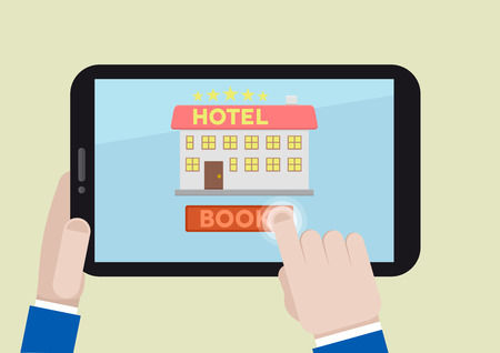 minimalistic illustration of booking a hotel room on a mobile device Stock Vector - 30868943
