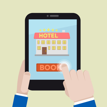 hotel booking: minimalistic illustration of booking a hotel room on a mobile device