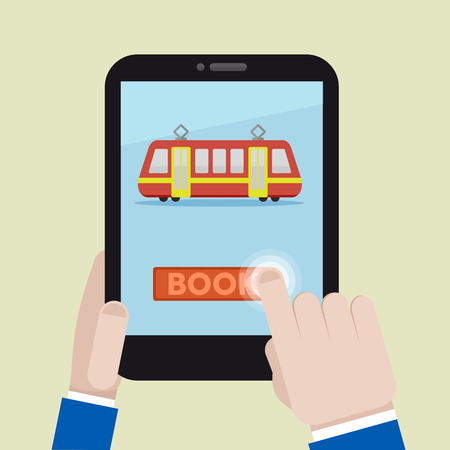 train ticket: minimalistic illustration of booking a train ticket on a mobile device, eps10 vector