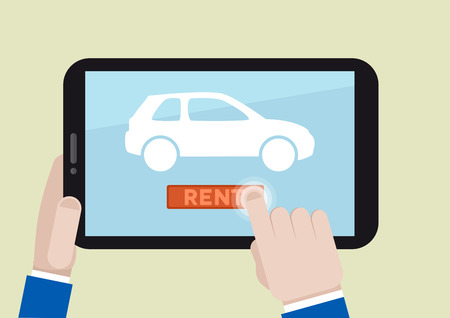 minimalistic illustration of renting a car with a mobile device