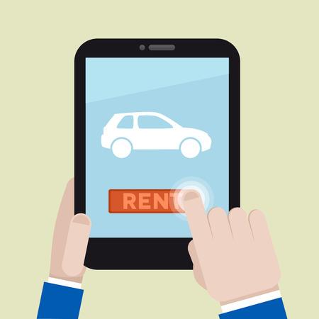 ilustración minimalista de alquilar un coche con un dispositivo móvil