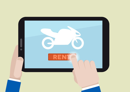 minimalistic illustration of renting a motorbike with a mobile device Vector