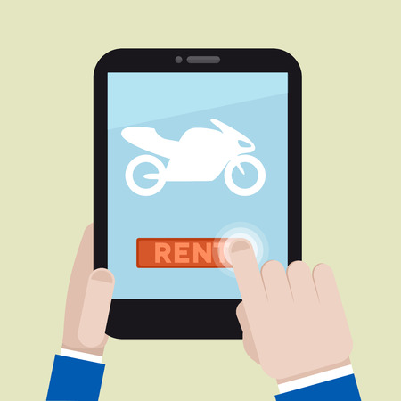 minimalistic illustration of renting a motorbike with a mobile device Illustration