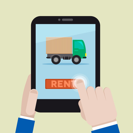 renting: minimalistic illustration of renting a truck on a mobile device