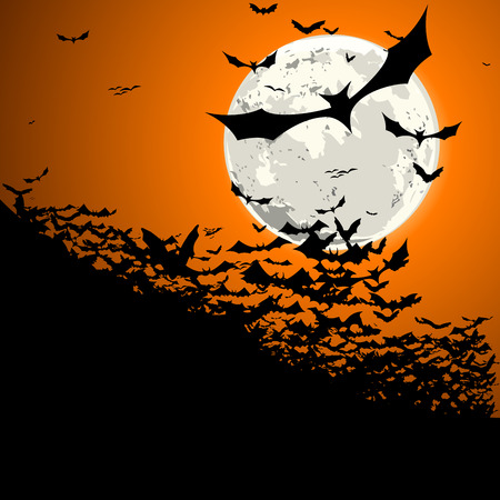 detailed illustration of a swarm of bats in front of a full moon Vector