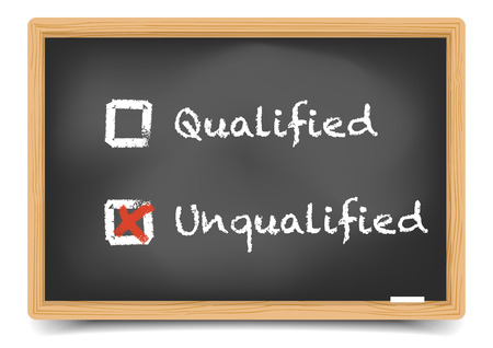 qualified: detailed illustration of checkboxes with qualified and unqualified options on a blackboard, eps10 vector, gradient mesh included