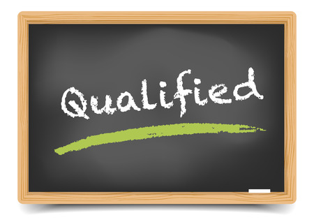 qualified: detailed illustration of a blackboard with Qualified term, eps10 vector, gradient mesh included
