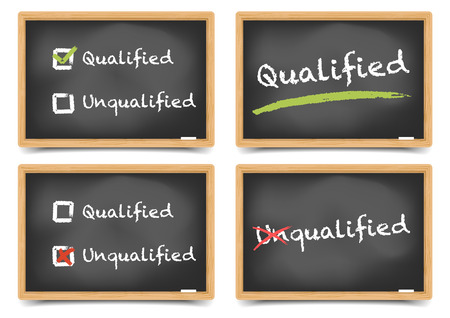 qualified: detailed illustration of blackboards with qualified and unqualified options, eps10 vector, gradient mesh included