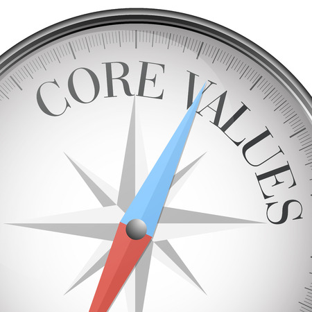 core: detailed illustration of a compass with core values text, eps10 vector