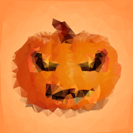 detailed illustration of an abstract polygonal halloween pumpkin, eps10 vector Vector
