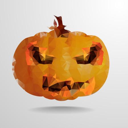 hollows: detailed illustration of an abstract polygonal halloween pumpkin, eps10 vector