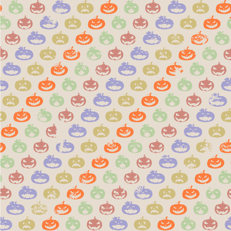 detailed illustration of a seamless grungy halloween pumpkin pattern, eps10 vector Vector