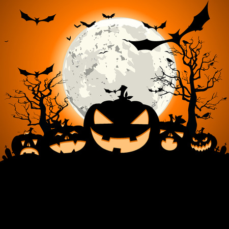hollows: detailed illustration of a happy halloween invitation background, eps10 vector Illustration