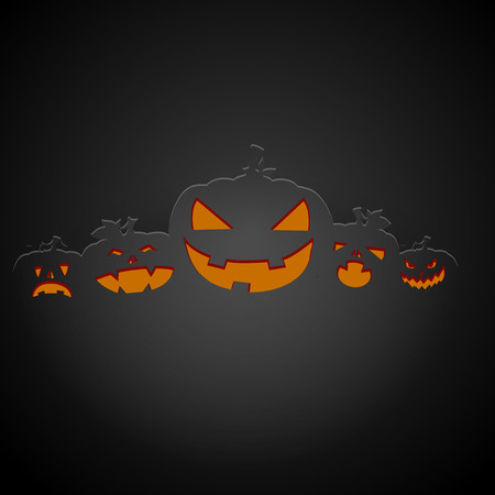 hollows: detailed illustration of a dark halloween pumpkin background, eps10 vector