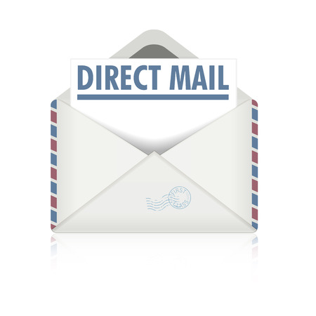 mail marketing: detailed illustration of an open envelope with direct mail letter, eps10 vector