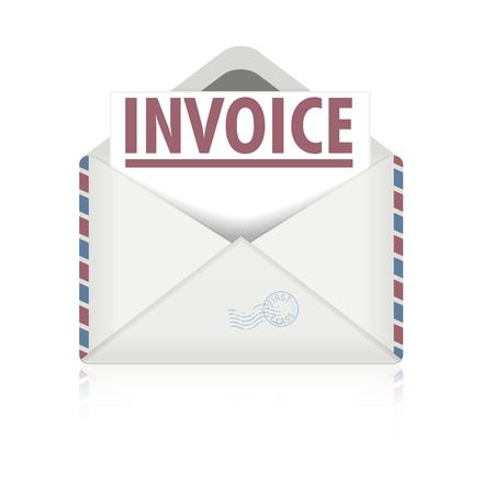 detailed illustration of an open envelope with invoice letter, eps10 vector