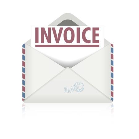 cuenta bancaria: ilustración detallada de un sobre abierto con la carta factura, vector eps10