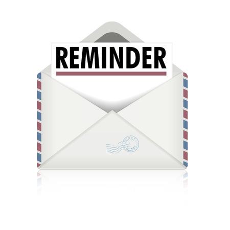 gedetailleerde illustratie van een open envelop met herinneringsbrief, eps10 vector