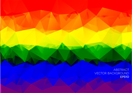 detailed illustration of an abstract polygonal rainbow background, eps10 vector Vector