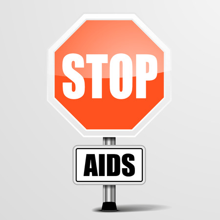 infection prevention: detailed illustration of a red stop AIDS sign, eps10 vector Illustration