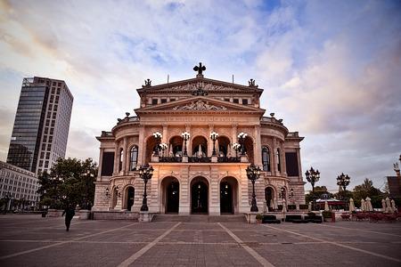 old opera building at dawn in Frankfurt, Germany