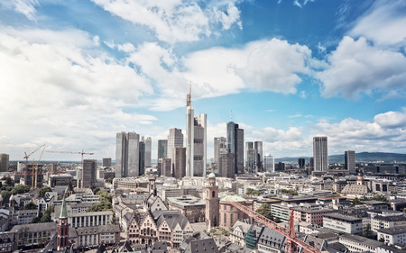 Skyline of Frankfurt am Main, Germany, financial capital of the european union 스톡 콘텐츠