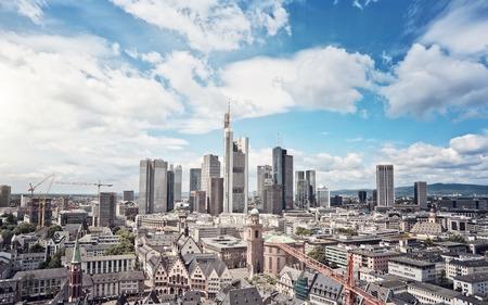 ecb: Skyline of Frankfurt am Main, Germany, financial capital of the european union Stock Photo