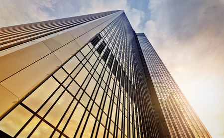modern office tower at dawn, Frankfurt am Main, Germany