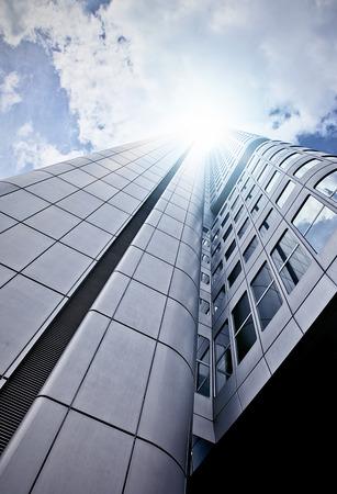 futuristic skyscraper office building seen from below, Frankfurt am Main, Germany