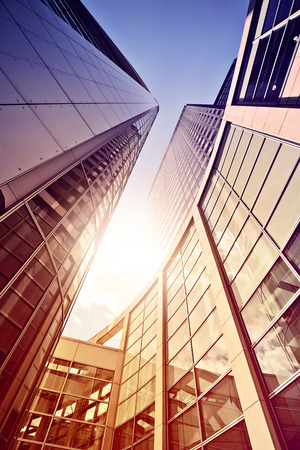 modern glass and steel office complex in the sun, Frankfurt am Main, Germany Stock Photo
