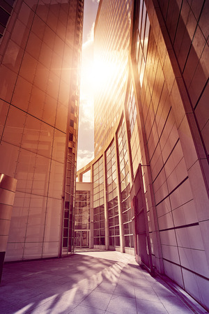 am: modern glass and steel office complex in the sun, Frankfurt am Main, Germany Stock Photo
