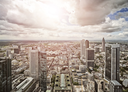 european exchange: aerial view of Frankfurt am Main, Germany