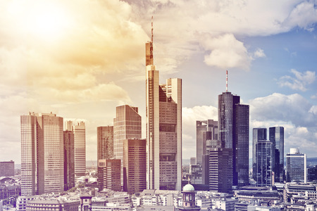 aerial view of the city center of Frankfurt am Main in the sun, Germany