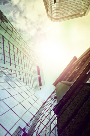 highrise office buildings seen from below in Frankfurt am Main, Germany photo