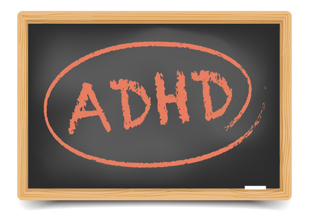 adhd: detailed illustration of a blackboard with ADHD text, eps10 vector, gradient mesh included Illustration