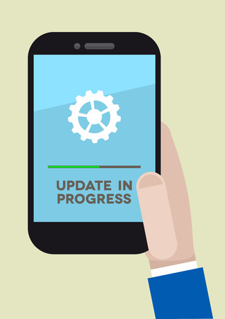 minimalistic illustration of a hand holding a mobile phone with update screen, eps10 vector Vector