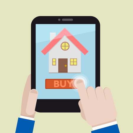 buying a house: minimalistic illustration of buying a house on a mobile device, eps10 vector