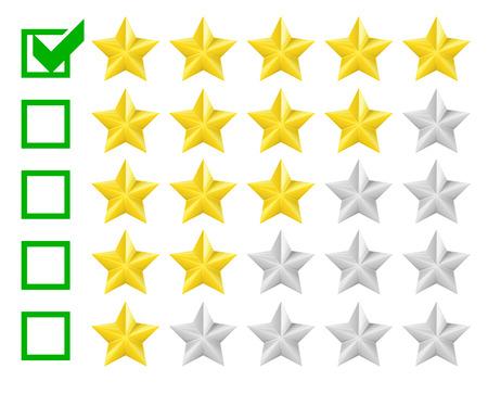 star rating: illustrazione dettagliata di un sistema di classificazione con opzione a cinque stelle, eps10