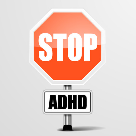 adhd: detailed illustration of a red stop ADHD sign, eps10 vector