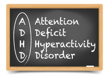 definition: detailed illustration of a blackboard with ADHD term definition, eps10 vector, gradient mesh included