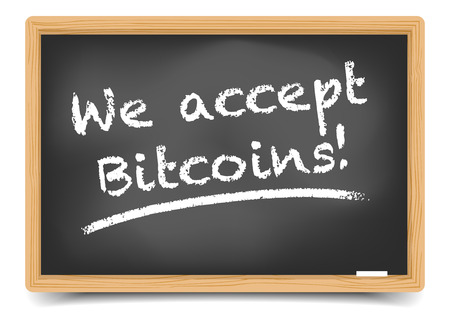accept: detailed illustration of a blackboard with we accept bitcoins text, eps10 vector, gradient mesh included