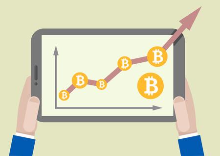 コンピューター画面では、eps10 ベクトルを出ると bitcoin 成長グラフをタブレットのミニマルなイラスト  イラスト・ベクター素材