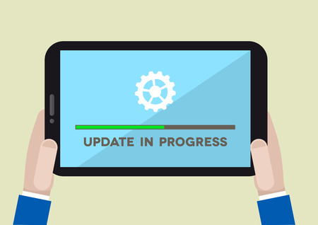 minimalistic illustration of hands holding a tablet computer with update screen, eps10 vector Vector