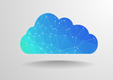 cloud: minimalistic illustration of polygon cloud with wireframe, eps10 vector