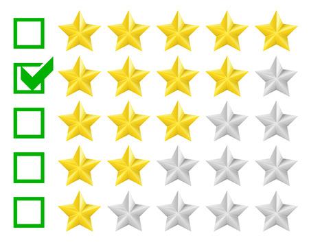 star rating: illustrazione dettagliata di un sistema di classificazione con la casella di controllo a quattro stelle, vettore eps10 Vettoriali