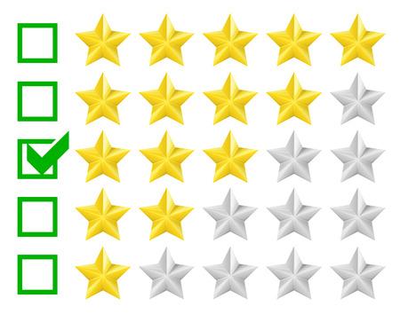 star rating: illustrazione dettagliata di un sistema di classificazione con opzione a tre stelle, eps10