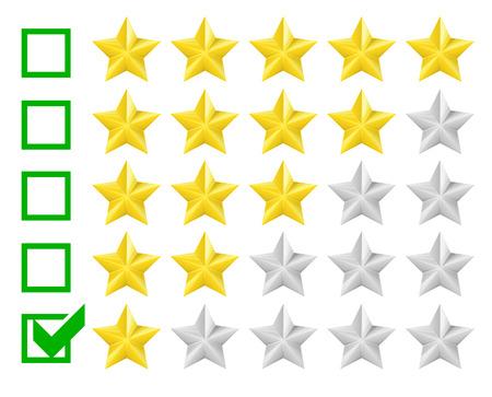 star rating: illustrazione dettagliata di un sistema di classificazione con la casella di controllo in una stella, vettore eps10
