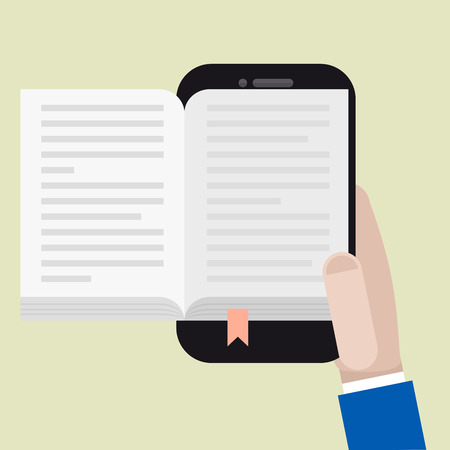 minimalistic illustration of a hand holding a mobile phone with an open book, ebook concept